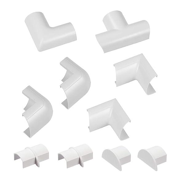 Raccords à clipser pour D-Line goulotte moulure Mini | Joindre plusieurs goulottes de 30x15mm | Multipack de 10 pièces raccords de goulotte électrique | Blanc