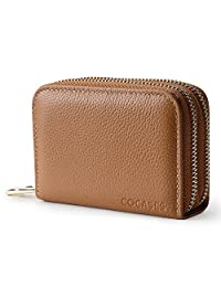Credit Card Wallet for women, COCASES RFID Blocking Genuine Leather Double Zipper Coin Organizer (Brown)