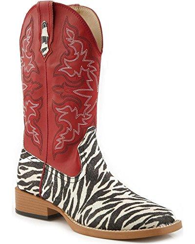 Roper Women's Zebra Glitter Riding Boot - Red/Zebra - 8.5...