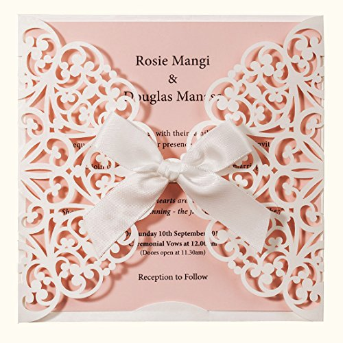 Wishmade Laser Cut Wedding Invitations Square White and Pink Cards with Bow Lace Sleeve for Baby Bridal Shower Birthday Engagement Quinceanera (Pack of 50pcs)