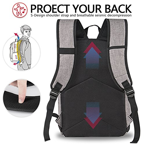 Backpack, Travel Water Resistant School Backpack with USB Charging Port for Women Men, Canvas College Student Bag Bookbag Fits 15.6 Inch Laptop and Notebook, Grey Rucksack Daypack for Outdoor Camping by Vancropak (Image #5)