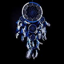 Dream Catcher ~ Handmade Traditional Royal Blue & White 22cm Diameter & 60cm Long!