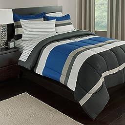 Blue, White & Gray Stripes Boys Teen Queen Comforter Set (7 Piece Bed In A Bag) + HOMEMADE WAX MELT