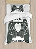 Lunarable Gamer Twin Size Duvet Cover Set, We Love Gaming Quote Greyscale Controller Design with Heart in The Middle, Decorative 2 Piece Bedding Set with 1 Pillow Sham, Charcoal Grey White