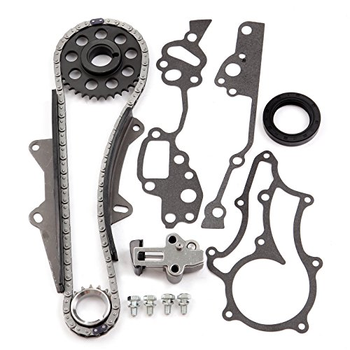 (SCITOO TTK-114-HD Timing Chain Kit Tensioner Guide Rails Cam Sprocket Crank Sprocket Water Pump Compatible 85-93 Toyota Pickup SR5 2.4L SOHC 22R/RE/REC)