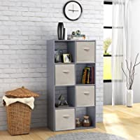 Mainstays 8 Cube Organizer Includes 4 Open-Backed and 4 Backed Cubes, Gray