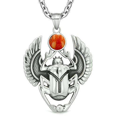 Amulet Egyptian Scarab Rebirth Spiritual Life Magic Powers Red Jasper Pendant 18 Inch Necklace