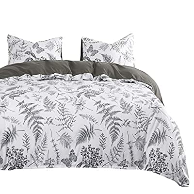 Wake In Cloud - Botanical Comforter Set, Plant Tree Leaves and Butterfly Pattern Printed in Black White Gray Grey, Soft Microfiber Bedding (3pcs, King Size) -  - comforter-sets, bedroom-sheets-comforters, bedroom - 51HbxI0yY0L. SS400  -