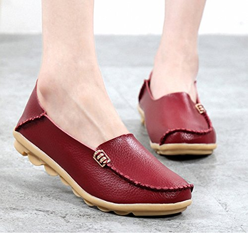 Loafer Shoes ,Women Flat Loafers Leather Slip On Slippers Casual Walking Driving Shoes Wine Red