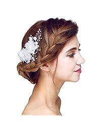 YAZILIND Elegant Headdress Beauty Women's Bridal Wedding Hair Clip Barrette Party CZ Bead Alloy Women Accessories