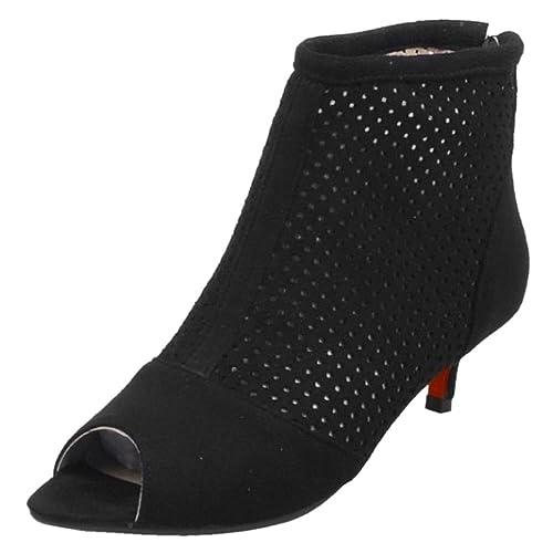RAZAMAZA Mujer Peep Toe Western Botines - Mini Tacon Cutout Sandalias: Amazon.es: Zapatos y complementos