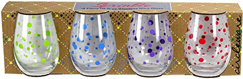 Circleware 77027 Polka Dots Stemless Wine Glasses, Set of 4 Drinking Glassware for Water, Juice, Beer, Liquor and Best Selling Kitchen and Home Decor Bar Dining Beverage Gifts, 18.9 oz, Colored by Circleware (Image #5)