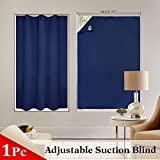 curtains over blinds  Window Blind Blackout Shades Travel Adjustable Portable Light Block Window Cover Suction Cups French Door, 51 78 inches, Single Panel, Navy Blue