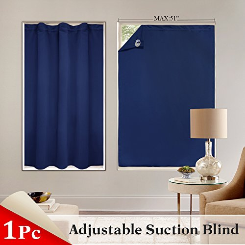Door Panel Pony (PONY DANCE Window Blind Blackout Shades for Travel Adjustable Portable Light Block Window Cover with Suction Cups for French Door, 51 by 78 inches, Single Panel, Navy Blue)