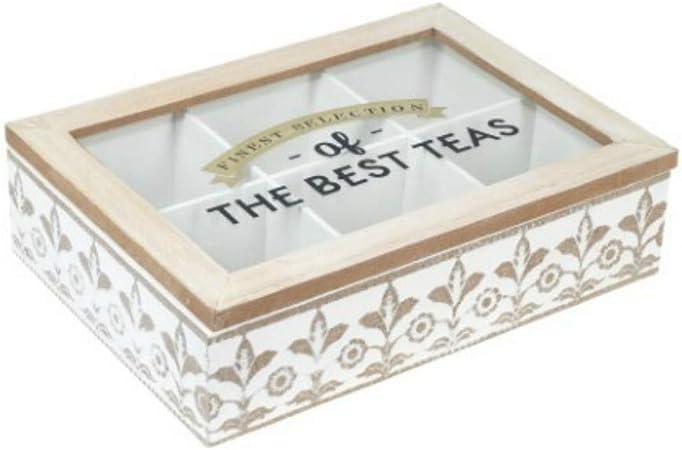 CAPRILO. Caja de Madera Decorativa para Te e Infusiones The Best Teas. Cajas Multiusos. Menaje de Cocina. Regalos Originales. Decoración Hogar. 6.5 x 24 x 17 cm.: Amazon.es: Hogar