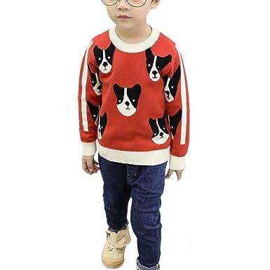 YanHoo Ropa para niños Camiseta de Manga Larga Sudaderas Niños Manga Larga Cachorros Dibujos Animados Suéteres