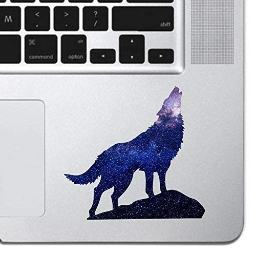 Cosmic Howling Wolf Laptop Sticker Keyboard, Keypad Vinyl Macbook Decal Sticker - Skin Track Pad MacBook Pro Air 13 15 17 iPad Laptop Decal iPad Sticker K9 Dog Wolf Silhouette