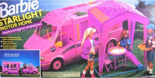 Barbie STARLIGHT MOTOR HOME Pink Vehicle MOTORHOME Van with TENT & TRAIL RIDER