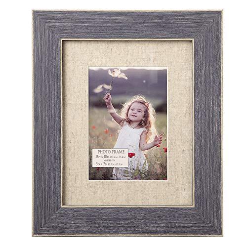 (Darice Blue Distressed Wood Frame: Linen Mat, 8 X 10