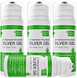 First Aid Silver Gel: pH Balanced Colloidal Silver Gel with Aloe Vera - Strong 30ppm Silver Gel 3.38oz Easy Pump. For Cuts, Scrapes, Burns, Wound Care on Humans and Cats and Dogs(4)