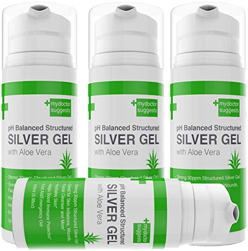 (First Aid Silver Gel: pH Balanced Colloidal Silver Gel with Aloe Vera - Strong 30ppm Silver Gel 3.38oz Easy Pump. For Cuts, Scrapes, Burns, Wound Care on Humans and Cats and Dogs(4))