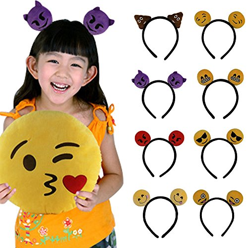 WISWIS 8Pcs Women Ladies Girl Emoji Headband Hair Band Accessories Costume Party