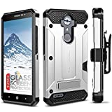 zte blade 3 case - ZTE MAX XL Case, Evocel [Explorer Series Pro] Dual Layer Credit Card Case with Glass Screen Protector & Magnetic Kickstand for ZTE Blade Max 3/ ZTE Blue Max/ZTE N9560/ ZTE Z986/ ZTE N986, Silver