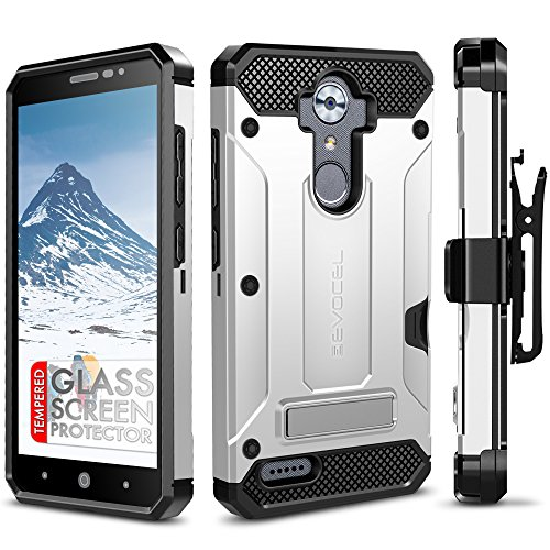 ZTE MAX XL Case Case, Evocel [Explorer Series Pro] with [Glass Screen Protector] Premium Full Body [Metal Kickstand][Credit Card Slot][Holster] For ZTE MAX XL (N9560) / ZTE Blade Max 3 (N986), Silver