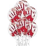 "Haunted Asylum Halloween Hand Blood Splatter Balloons Decoration, Latex, 12"" Pack of 6"