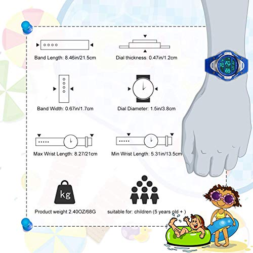Boys Sport Digital Watch, Kids Outdoor Waterproof Electronic Watches with LED Alarm Stopwatch - Blue by cofuo (Image #6)