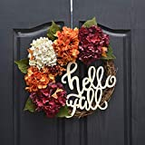 QUNWREATH Handmade 16 inch Hydrangea Series Wreath,Green Leaf,Hello Fall Letter,Fall Wreath,Wreath for Front Door,Rustic Wreath,Farmhouse Wreath,Grapevine Wreath,Light up Wreath,Everyday Wreath,QUNW29