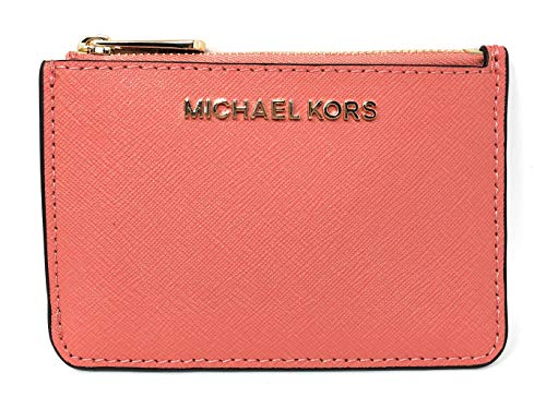 Michael Kors Jet Set Travel Small Top Zip Coin Pouch with ID Holder Saffiano Leather (Pink Grapefruit)