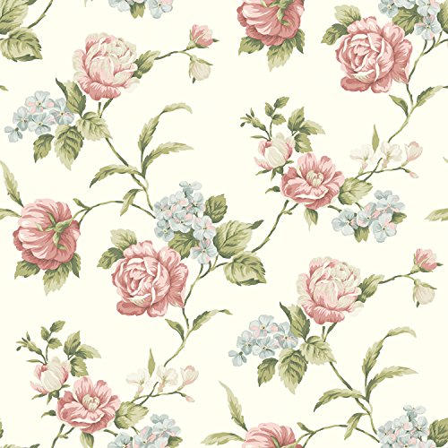 Chesapeake CG97061 Gleason Floral Rose Trail Wallpaper, White