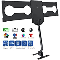 TV Antenna,GJT HDTV Antenna Digital 150 Mile Rang HD Antenna with Amplifier Signal Booster Outdoor/Attic/Roof Omnidirectional Reception-4K FM/VHF/UHF Free Channels with 33ft Cable