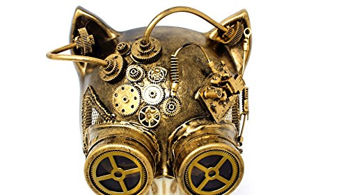 Steampunk Cat Mask Mechanical Half Cat Woman Skull Face Mask Gears and Goggle Costume Cosplay Halloween (Gold)