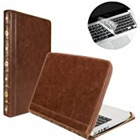 Se7enline Classic Book Case for MacBook Air 13-inch Model A1369 / A1466 -Brown Vintage PU Leather Premium Quality Zipped Sleeve Filp Carrying Case Cover with Transparent Keyboard Cover