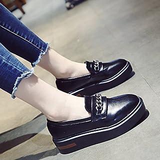 KPHY-autunno nuovo Pan di Spagna scarpe di spessore singolo donne piccole scarpe di cuoio versione coreana dello studente e versatile testa quadrata aumentata scarpe femminili della marea nera 39