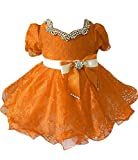 Junguan Baby Girls' Lace Cupcake Gowns Bow Kids Mint Party Dresses 6 Orange