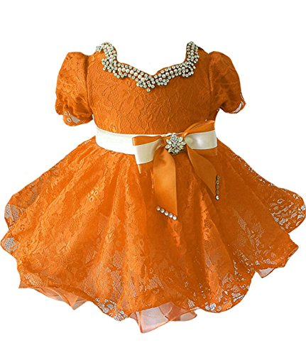 Junguan Baby Girls' Lace Cupcake Gowns Bow Kids Mint Party Dresses 3 Orange