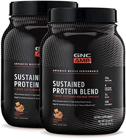 GNC AMP Sustained Protein Blend - Cinnamon Toast - Twin Pack