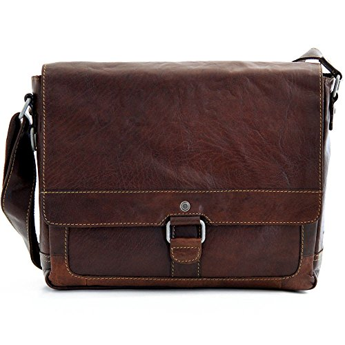 Jack Georges Voyager Collection Leather Messenger Bag in Brown