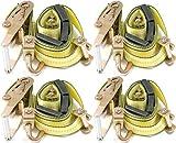 "2""x10' Over the Tire DKG-321 Yellow Heavy Duty Swivel J Hook Wheel Strap Ratchet Car Hauler Trailer Carrier Tie Down (4 pack)"