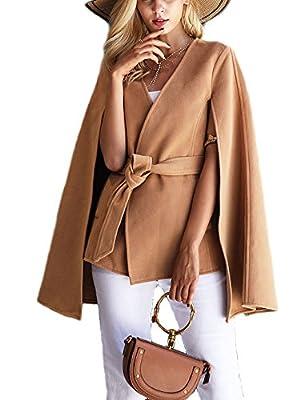 Women's V Neck Cape, Fashion Batwing Sleeve Split Coat with Belt