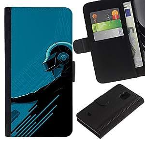 Billetera de Cuero Caso Titular de la tarjeta Carcasa Funda para Samsung Galaxy S5 Mini, SM-G800, NOT S5 REGULAR! / Futuristic Blue Helmet Biker Black / STRONG