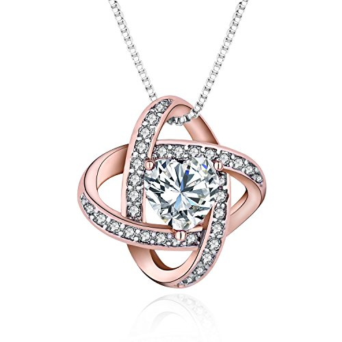 luomart Celtic Love Knot Necklace Birthstone Two-Tone Plated Brass Heart Shaped Crystal Pendant Jewelry (White Heart Crystal) (Brass Pendant Celtic)