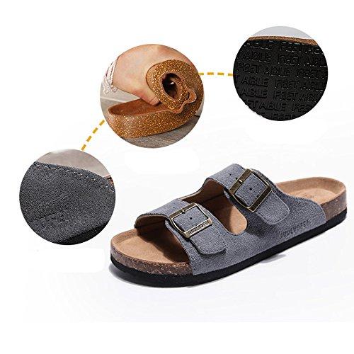 Pantoufles dété hommes pantoufles en liège antidérapant Waichuan chaussures de plage respirant ( Couleur : 8 , taille : EU41/UK7.5-8/CN42 )