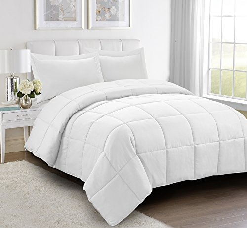 3pc Down Alternative Comforter Set - All Season Reversible Comforter with Two Shams - Quilted Duvet Insert with Corner Tabs -Box Stitched –Hypoallergenic, Soft, Fluffy (Full/Queen, Pure White) - Crafts White Queen Bed