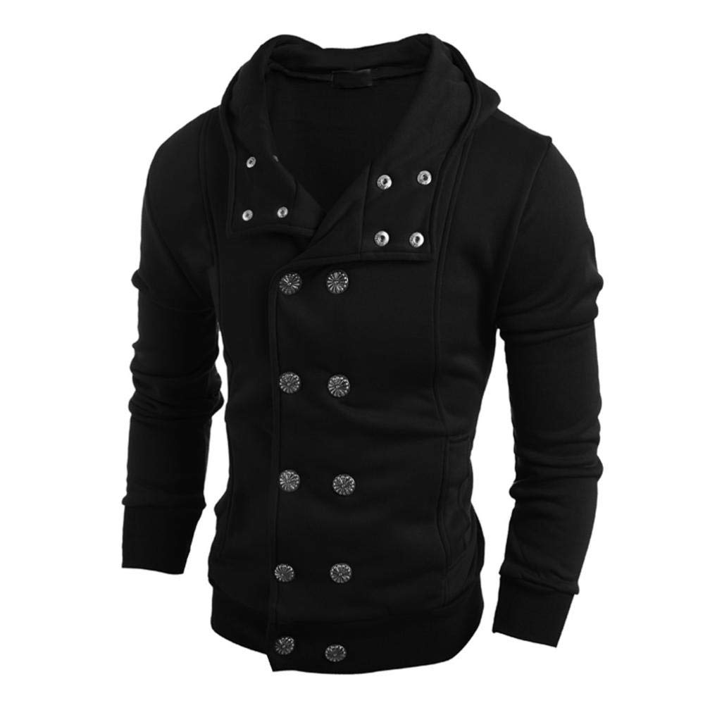 Fashion Autumn Winter Men Hooded Sweater Top Blouse Button Down Windproof Motorcycle Jacket Coat (Black, XL)