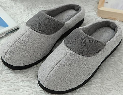 W&XY Men's winter slippers non-slip indoor shoes bottom slippers waterproof household shoes 42 SdT7FLQI