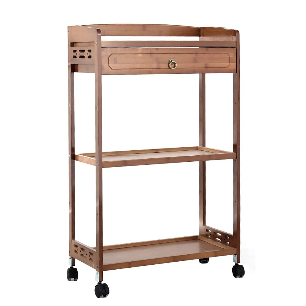 Dining Trolley Rolling Kitchen Wooden Trolley Cart with Drawer,Multifunctional Storage Cabinet Portable Stand Countertop Home Kitchen Shelves and Organizer W/Wheels by Kitchen Cart